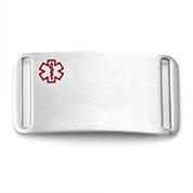 Brushed Steel Medical Alert Tag for Strap Bracelets