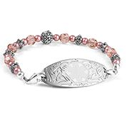 Carnation Pink Beaded Medical Alert Bracelet