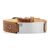 Casual Brown Leather Medical Alert Bracelet