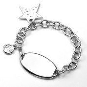 Personalized Hammered Star Charm Bracelet 7 1/2 Inch