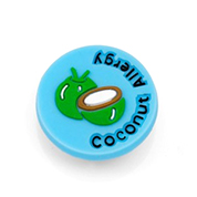 Coconut Allergy Button for Kids Rubber Medical Bracelet