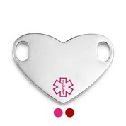 Colored Options Heart Shaped Medical Alert Tags