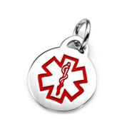 Round Red Stainless Steel Medical ID Charm