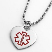 Medical ID Heart Pendant or Charm 3/4 inch