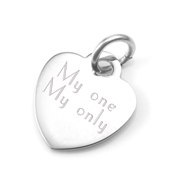Personalized Silver Heart Pendant 1/2 Inch