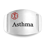 Asthma Medical Alert ID Tag for Strap Bracelets