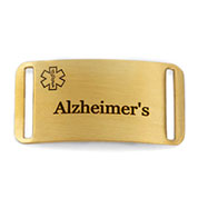 Gold Plated Medical ID Tag for Alzeheimers Bracelets