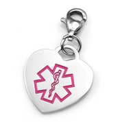 Lymphedema Pink Heart Medical ID Charm