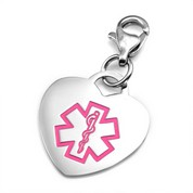 Stainless Pink Heart Medical Charm for Bracelets