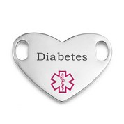 Diabetes Pink Symbol Heart Style Medical ID Tag