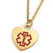 Gold Heart Medical Alert Necklace