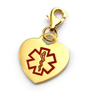 18K Gold Plated Medical Alert Heart Charm