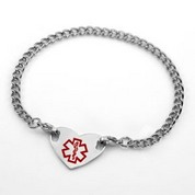 Nine Inch Steel Medical ID Anklet With Heart Alert Tag