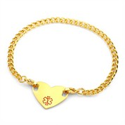 Nine Inch Gold Steel Medical ID Anklet With Heart Tag