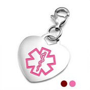 Stainless Steel Red or Pink Heart Medical ID Charms