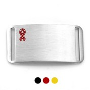 Black, Red or Yellow Ribbon Stainless Medical ID Tags