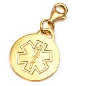 Gold Stainless Round Outline Medical Charm