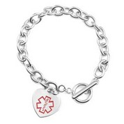 Heart Charm Medical Bracelet Easy On and Off Toggle