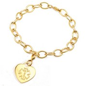 Embossed Medical ID Gold Plated Heart Charm Bracelet 6.5 In