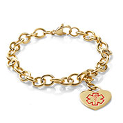 Medical Gold Plated Heart Charm Bracelet 7 In