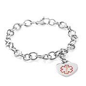 Medical Stainless Cable Link Heart Charm Bracelet 7 In