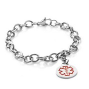 Medical Alert Stainless Cable Link Charm Bracelet 7.5 In