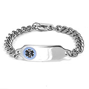 G Adult Blue Medical Steel Bracelet 9 In with Safety Clasp