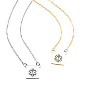 Petite Square Medical ID Necklaces for Women