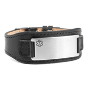 Dapper Adjustable Wide Leather Medical ID Bracelet
