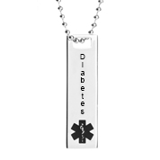 Diabetes Medical Polished Steel Medium Pendant 20 In Chain