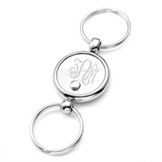 Double Ring Round Pull Apart Personalized Keychain