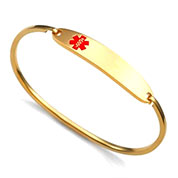 5 Inch Lesly Gold Medical Bracelet with Red Symbol