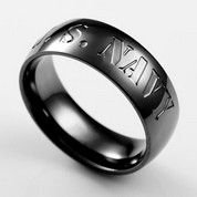 U.S. Navy 7mm Black Plated Stainless Ring Size 10