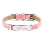 Pink Faux Leather Epilepsy Bracelet