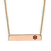 Rose Gold Bar Medical Alert Necklace for Women