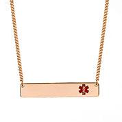 Rose Gold Bar Medical Alert Necklace for Women