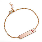 Rose Gold Bar Medical Alert Bracelets For Women