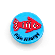 Fish Allergy Button for Kids Rubber Medical Bracelet