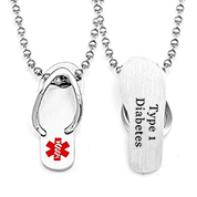 Flip Flop Type One Diabetes Necklace 18 inch