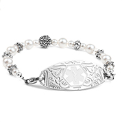 Floral Pearl Womens Beaded Medical Alert Bracelet