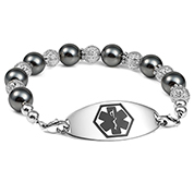 Glam Black Beaded Medical Alert Bracelet