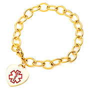 Gold Heart Medical Alert Charm Bracelet 7.5 inch