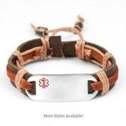 Hayden Hemp Leather Medical ID Bracelets