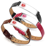 Audrina Leather Medical ID Bracelets