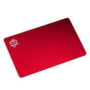 Red Aluminum Medical ID Card for Wallet (you can personalize this for $4.95 once it