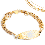 Gold Medical Alert Bracelet with Heart Charms