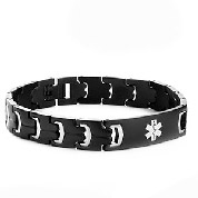 Jet Black Steel Medical ID Bracelets for Men
