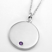 Feb Birthstone Sterling Silver Small Pendant