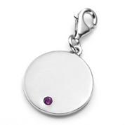 Feb Birthstone Sterling Silver Charm for Bracelets 3/4 Inch