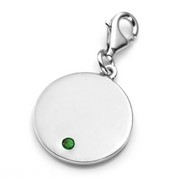 May Birthstone Sterling Silver Charm for Bracelets 3/4 Inch